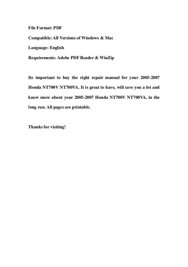 2005 2007 honda nt700 v nt700va service repair workshop manual downlo 2005 2007 honda nt700 v nt700va service repair workshop manual download 2005 2006 2007 swarovskicordoba Images