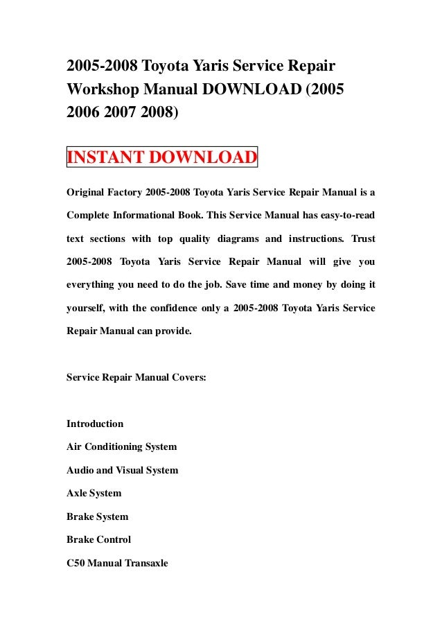 Toyota Workshop Service Repair Manual Pdf