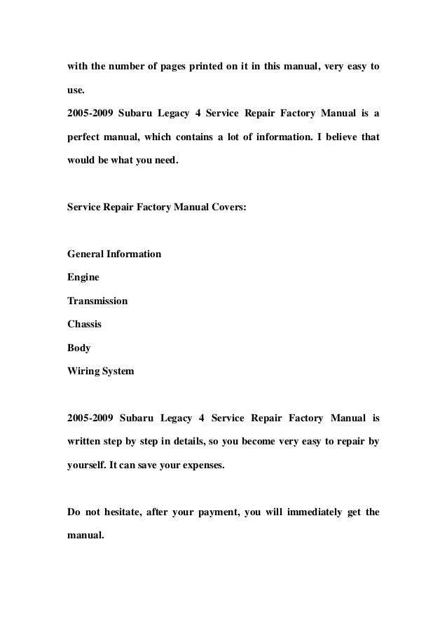 2008 subaru legacy factory service repair manual instant download