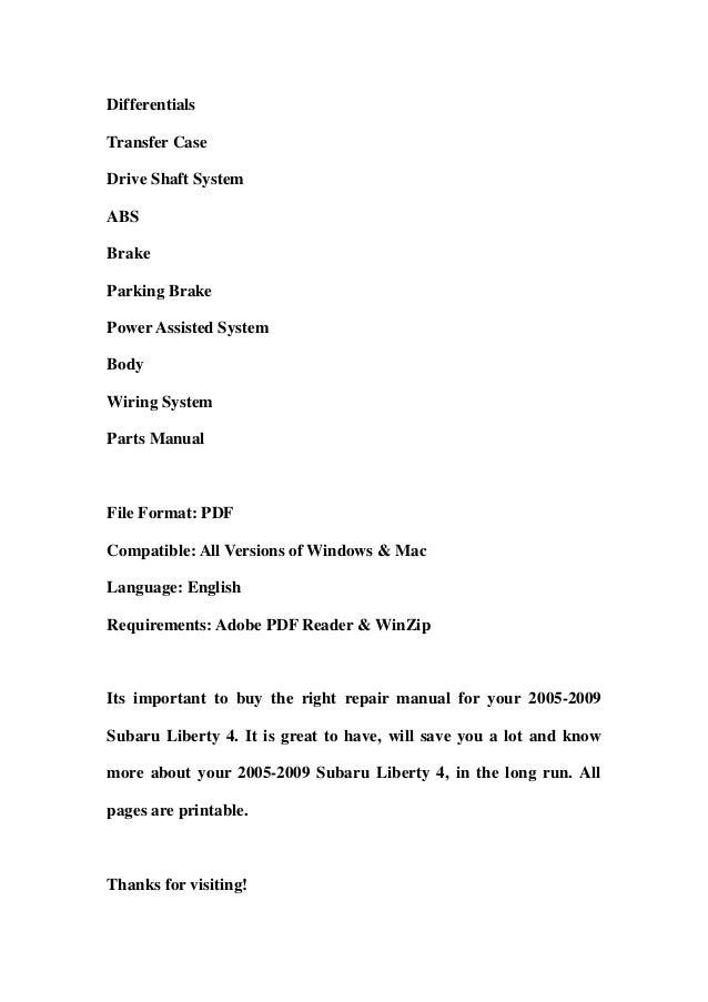 2006 liberty manual subaru pdf
