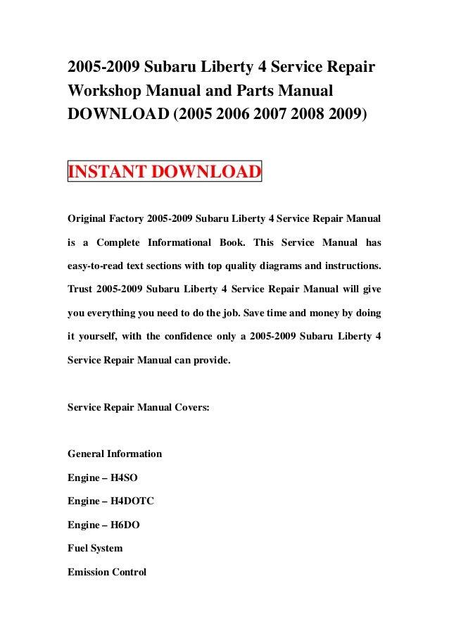 2005 2009 subaru liberty 4 service repair manual and parts manual dow rh slideshare net service manual subaru legacy 1999 service manual subaru legacy 2005