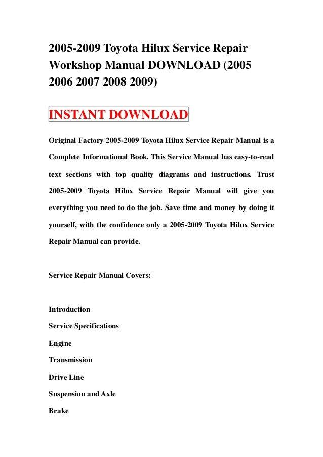 2005 2009 toyota hilux service repair workshop manual download 2005 rh slideshare net