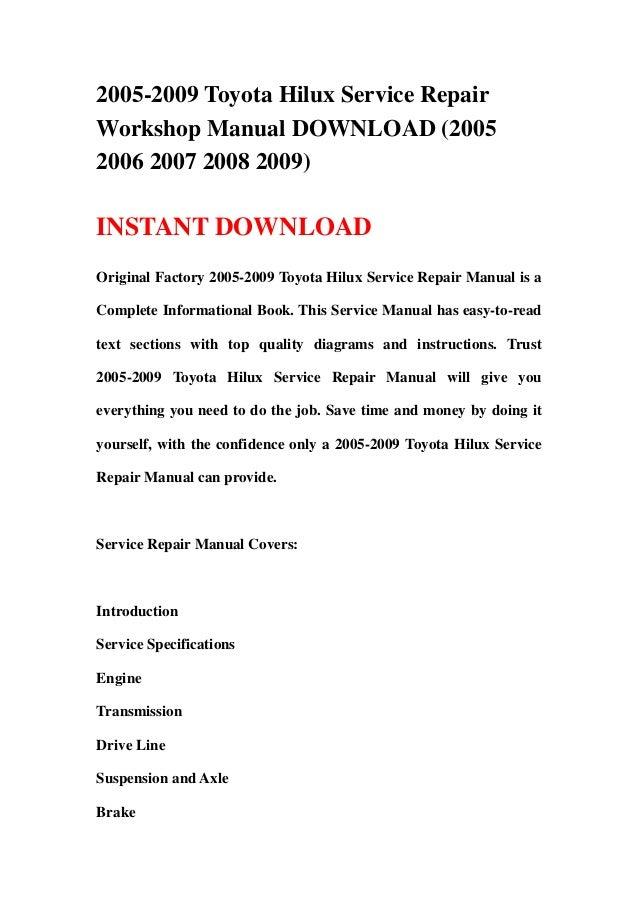 2005 2009 toyota hilux service repair workshop manual download (2005 …