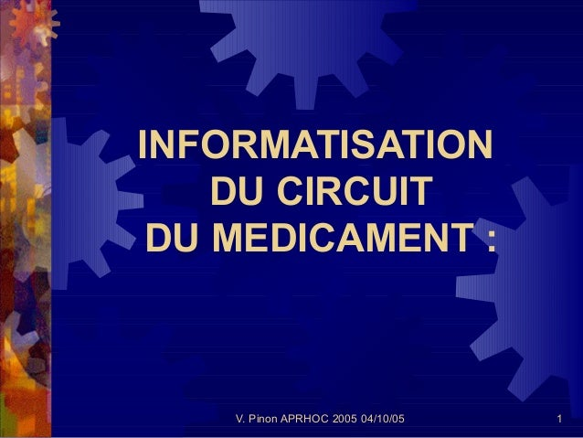 INFORMATISATION    DU CIRCUIT DU MEDICAMENT :    V. Pinon APRHOC 2005 04/10/05   1