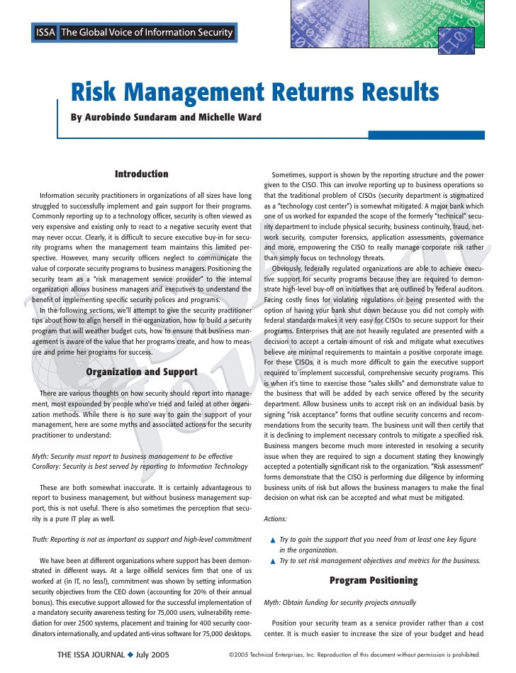 Risk Management Returns Results              By Aurobindo Sundaram and Michelle Ward                                  Intr...