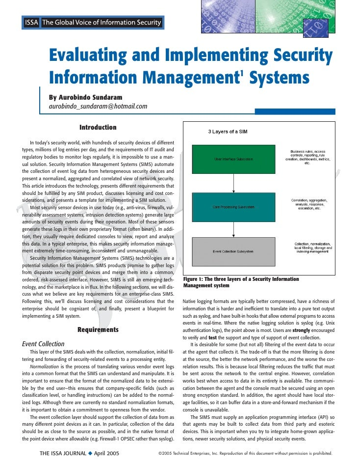 Evaluating and Implementing Security               Information Management1 Systems               By Aurobindo Sundaram    ...