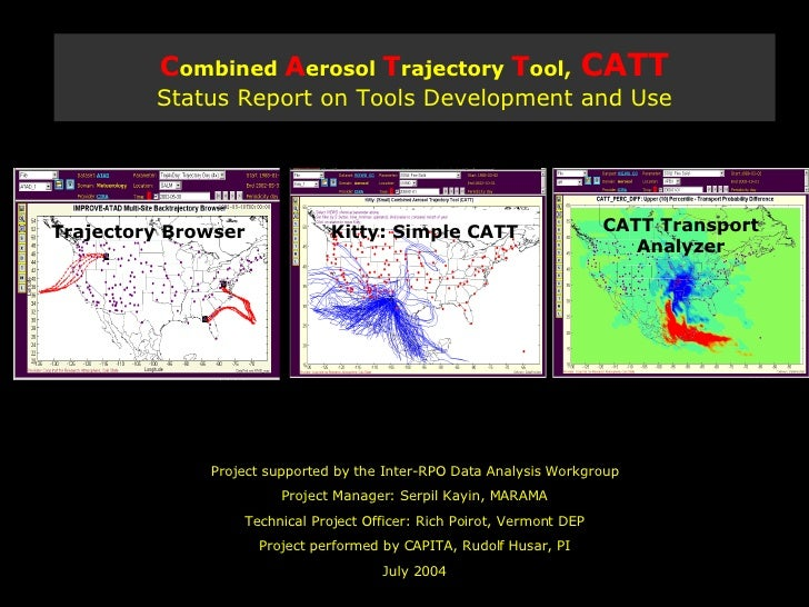 C ombined  A erosol  T rajectory  T ool,   CATT Status Report on Tools Development and Use Project supported by the Inter-...