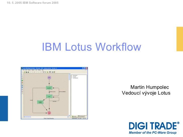 IBM Lotus Workflow Martin Humpolec  Vedoucí vývoje Lotus