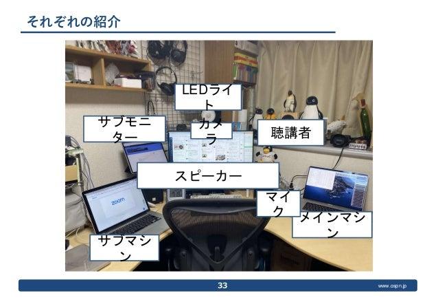 www.ospn.jp それぞれの紹介 33 メインマシ ン マイ ク サブモニ ター サブマシ ン スピーカー LEDライ ト カメ ラ 聴講者