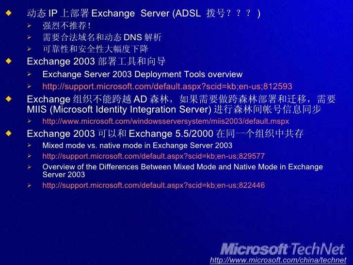<ul><li>动态 IP 上部署 Exchange  Server (ADSL  拨号??? ) </li></ul><ul><ul><li>强烈不推荐! </li></ul></ul><ul><ul><li>需要合法域名和动态 DNS 解析...