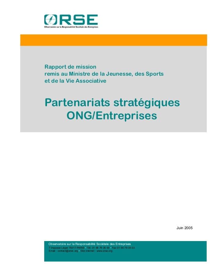 Rapport de missionremis au Ministre de la Jeunesse, des Sportset de la Vie AssociativePartenariats stratégiques    ONG/Ent...