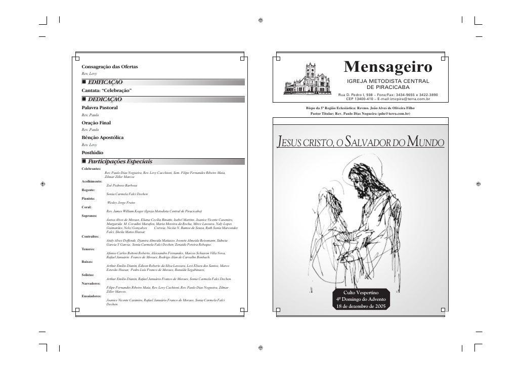 Mensageiro                               IGREJA METODISTA CENTRAL                                     DE PIRACICABA       ...