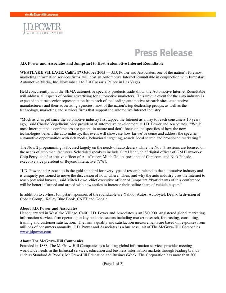 J.D. Power and Associates and Jumpstart to Host Automotive Internet Roundtable  WESTLAKE VILLAGE, Calif.: 17 October 2005 ...