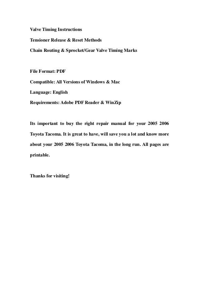 2005 2006 toyota tacoma service repair workshop manual download rh slideshare net 2005 toyota tacoma factory service manual download 2004 toyota tacoma service manual