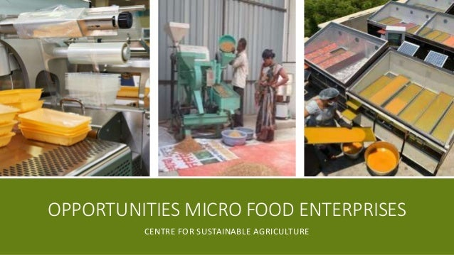 OPPORTUNITIES MICRO FOOD ENTERPRISES CENTRE FOR SUSTAINABLE AGRICULTURE