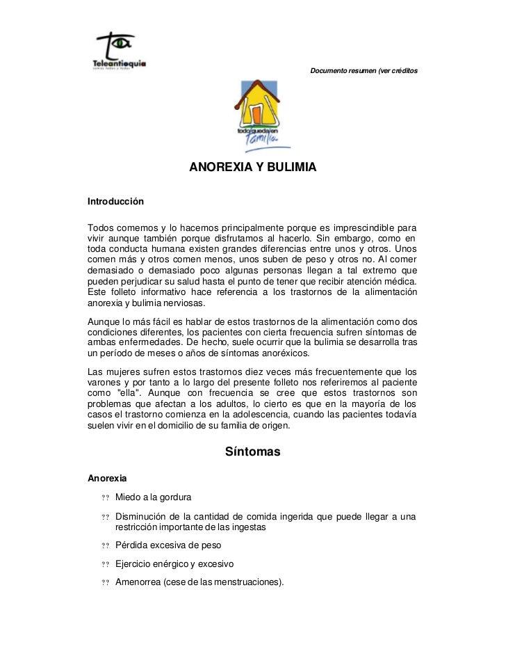 Documento resumen (ver créditos                               ANOREXIA Y BULIMIA  Introducción  Todos comemos y lo hacemos...
