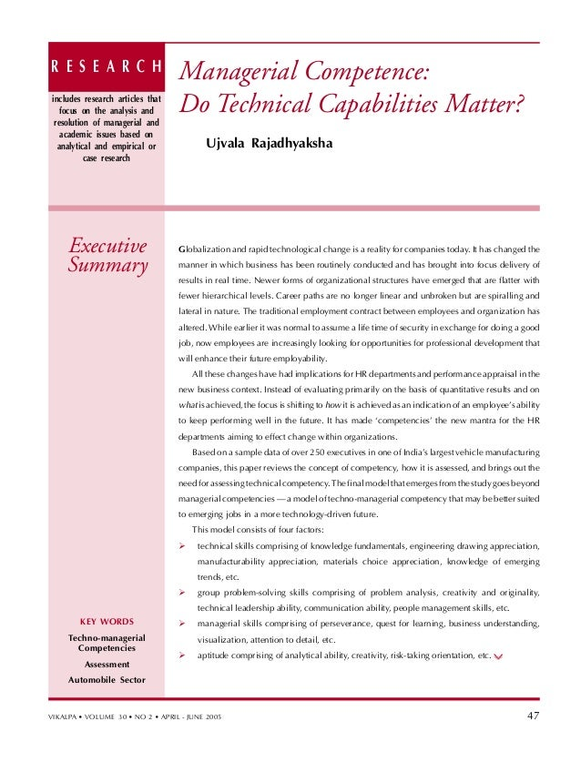 R E S E A R C H                   Managerial Competence:includes research articles that   focus on the analysis and      D...