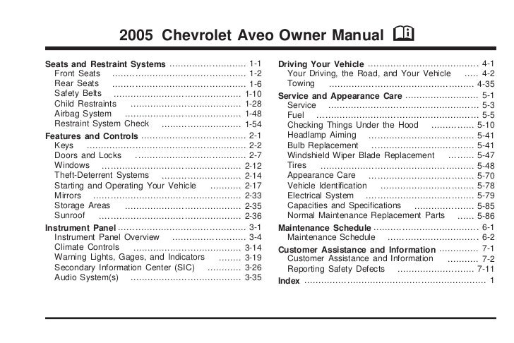 2005 Chevrolet Aveo Owner Manual                                                        MSeats and Restraint Systems ........