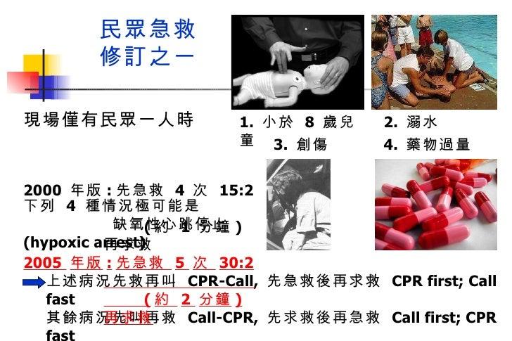 現場僅有民眾一人時  下列  4   種情況極可能是  缺氧性心跳停止  (hypoxic arrest) 民眾急救 修訂之一 上述病況先救再叫  CPR-Call,  先急救後再求救  CPR first; Call fast 其餘病況先叫再...