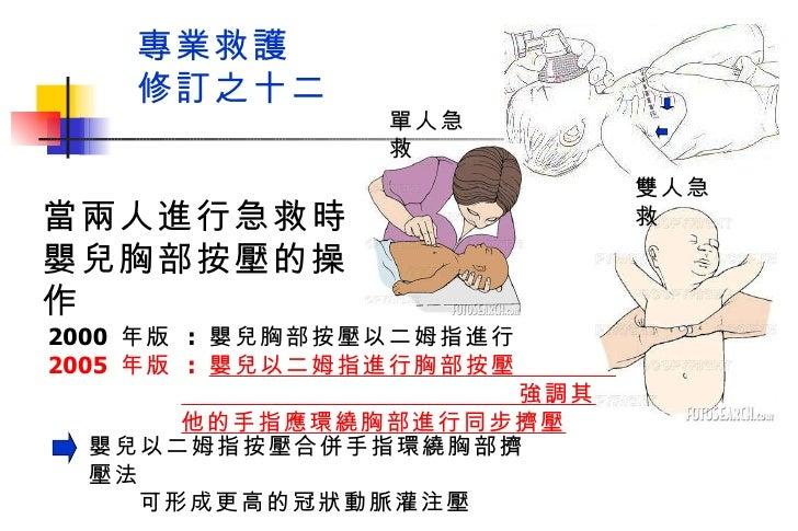 專業救護  修訂之十二 當兩人進行急救時 嬰兒胸部按壓的操作 嬰兒以二姆指按壓合併手指環繞胸部擠壓法  可形成更高的冠狀動脈灌注壓 2000  年版  :  嬰兒胸部按壓以二姆指進行 2005  年版  :  嬰兒以二姆指進行胸部按壓  強調其...