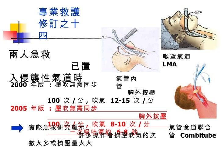 專業救護  修訂之十四 2000  年版  :  壓吹無需同步  胸外按壓  100  次 / 分 ,  吹氣  12-15  次 / 分 2005  年版  :  壓吹無需同步  胸外按壓  100  次 / 分 ,  吹氣  8-10  次...