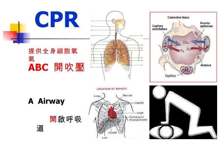 ABC  開吹壓   A  Airway  開 啟呼吸道  B  Breathing  吹 氣維持呼吸  C  Circulation  壓 胸維持循環 CPR 提供全身細胞氧氣