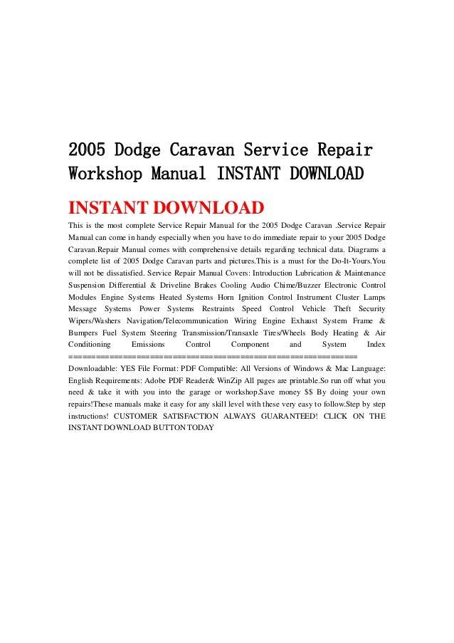 2005 Dodge Caravan Service Repair Workshop Manual Instant