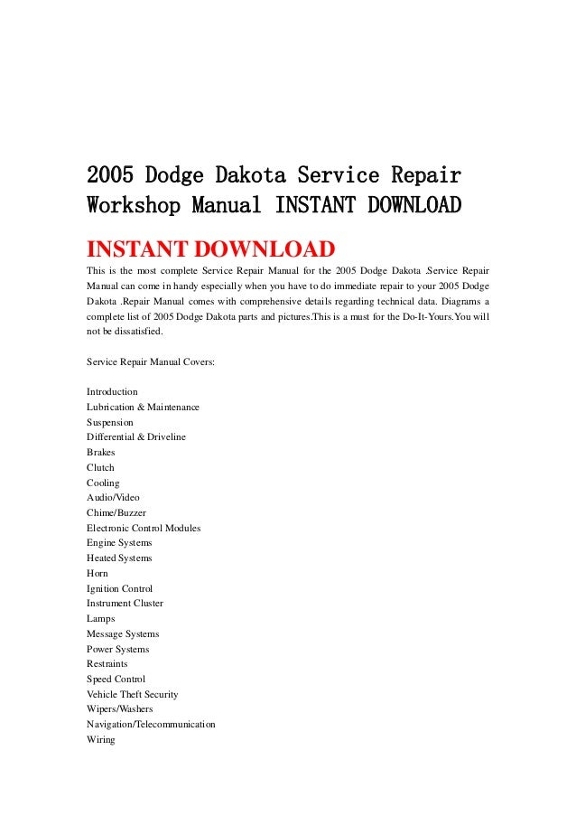 2005 dodge dakota service repair workshop manual instant download.