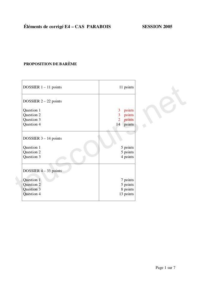 Éléments de corrigé E4 – CAS PARABOIS                   SESSION 2005PROPOSITION DE BARÈME                                 ...