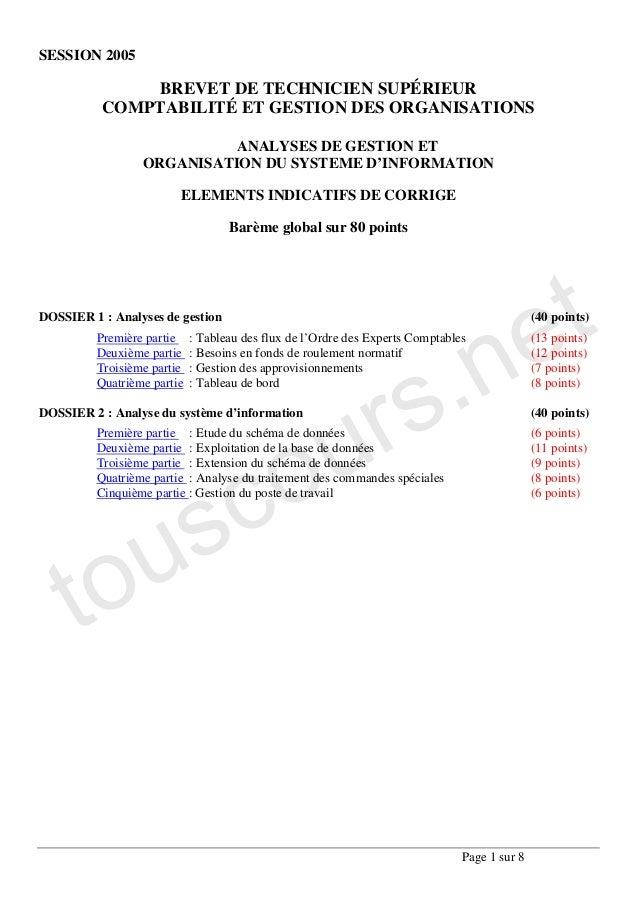 SESSION 2005              BREVET DE TECHNICIEN SUPÉRIEUR          COMPTABILITÉ ET GESTION DES ORGANISATIONS               ...