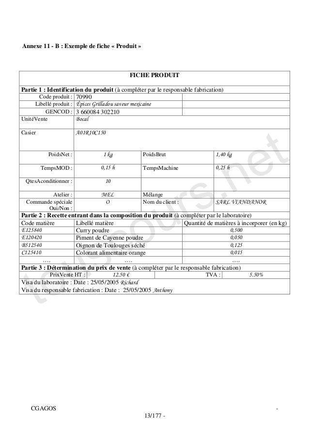 Annexe 11 - B : Exemple de fiche « Produit »                                           FICHE PRODUITPartie 1 : Identificat...
