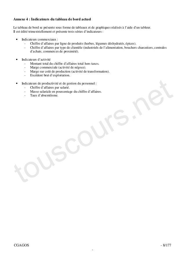 Annexe 4 : Indicateurs du tableau de bord actuelLe tableau de bord se présente sous forme de tableaux et de graphiques réa...