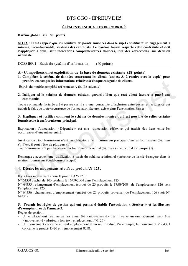 BTS CGO - ÉPREUVE E5                                ÉLÉMENTS INDICATIFS DE CORRIGÉBarème global : sur 80 pointsNOTA : Il e...