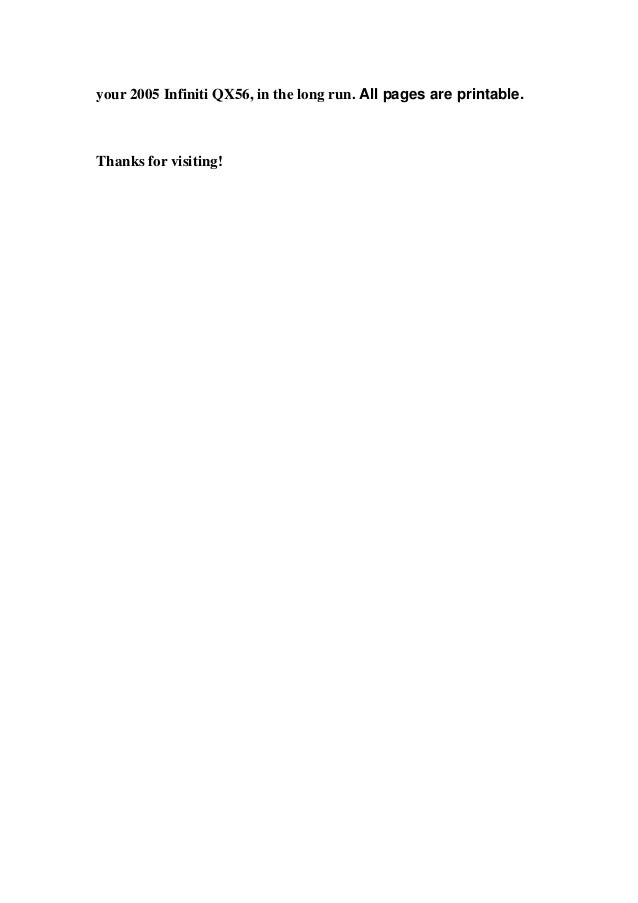 infiniti qx service repair manual 4 your 2005 infiniti qx56