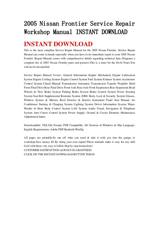 nissan frontier 2005 repair manual pdf