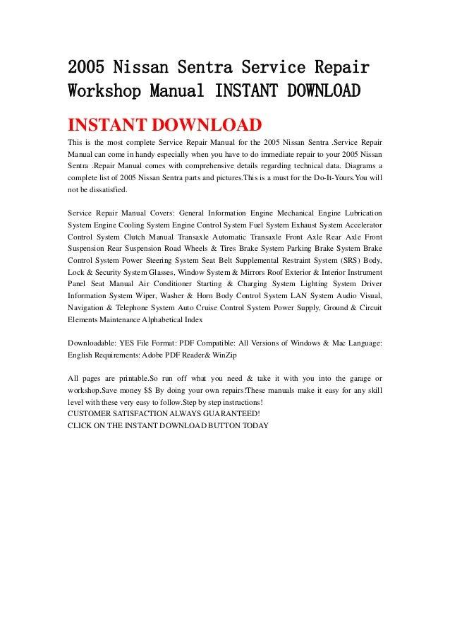 2005 nissan sentra service repair workshop manual instant download rh slideshare net 2004 nissan sentra repair manual 2005 nissan sentra repair manual pdf