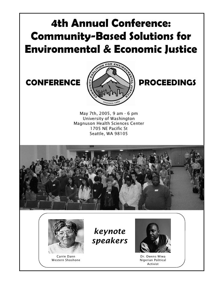 4th Annual Conference: Community-Based Solutions forEnvironmental & Economic JusticeCONFERENCE                            ...