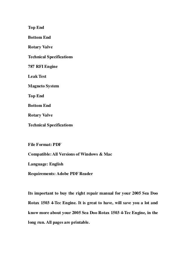 2005 sea doo rotax 1503 4 tec engine service repair workshop manual d rh slideshare net Hi Tec TEC- 9