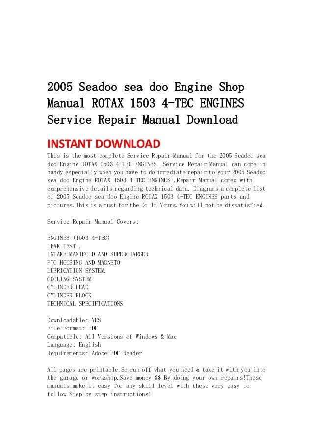 2005 seadoo sea doo engine shop manual rotax 1503 4 tec engines servi rh slideshare net Hi Tec 2014 Renegade X 800 E Tec