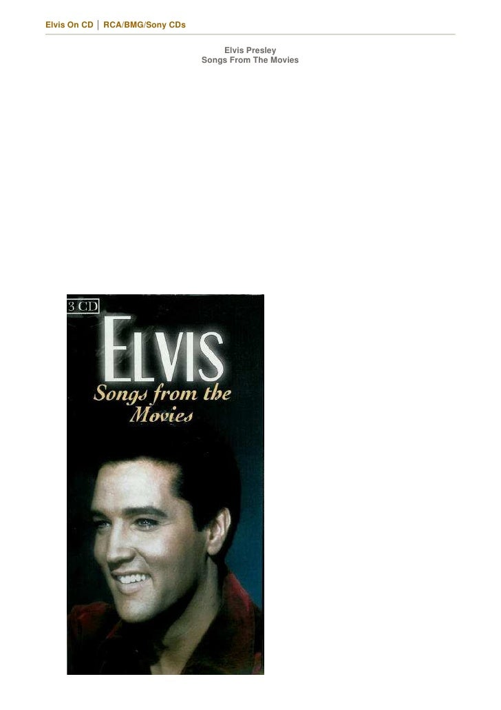 Elvis On CD │ RCA/BMG/Sony CDs                                        Elvis Presley                                  Songs...