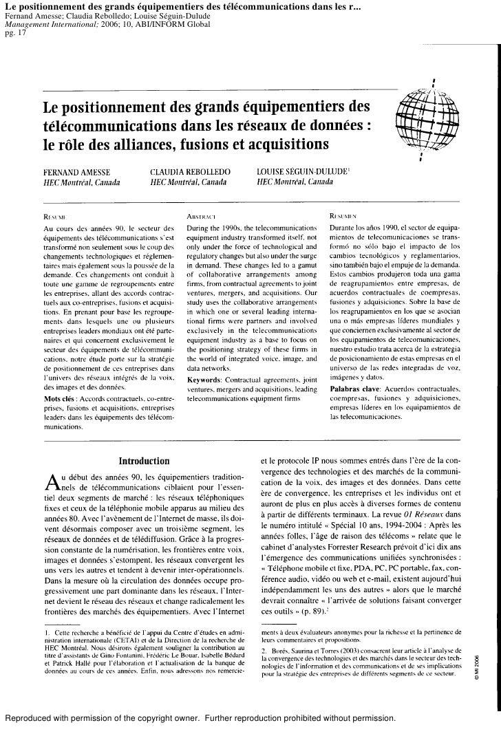 Le positionnement des grands équipementiers des télécommunications dans les r... Fernand Amesse; Claudia Rebolledo; Louise...
