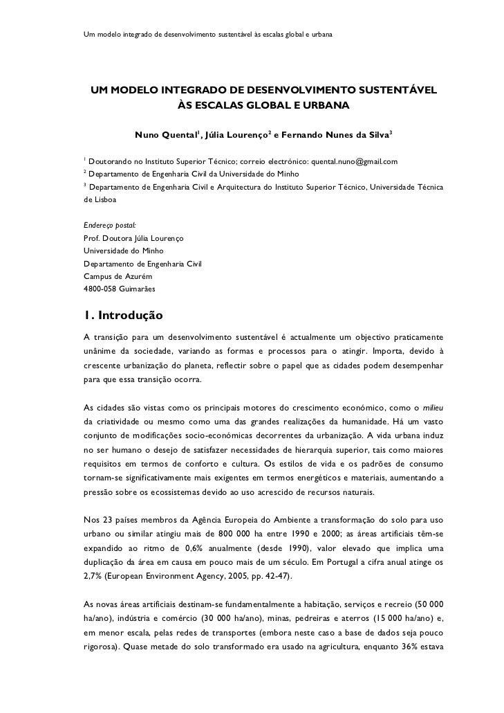 Um modelo integrado de desenvolvimento sustentável às escalas global e urbana    UM MODELO INTEGRADO DE DESENVOLVIMENTO SU...