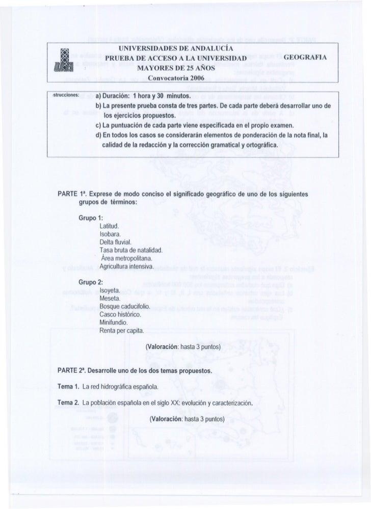 UNIVERSIDADES DE ANDALUCÍA                        PRUEBA DE ACCESO A LA UNIVERSIDAD                                  GEOGR...