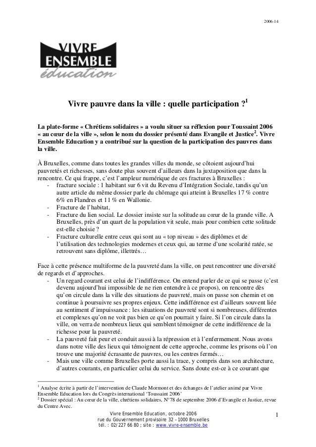 2006-14 Vivre Ensemble Education, octobre 2006 rue du Gouvernement provisoire 32 – 1000 Bruxelles tél. : 02/227 66 80 ; si...