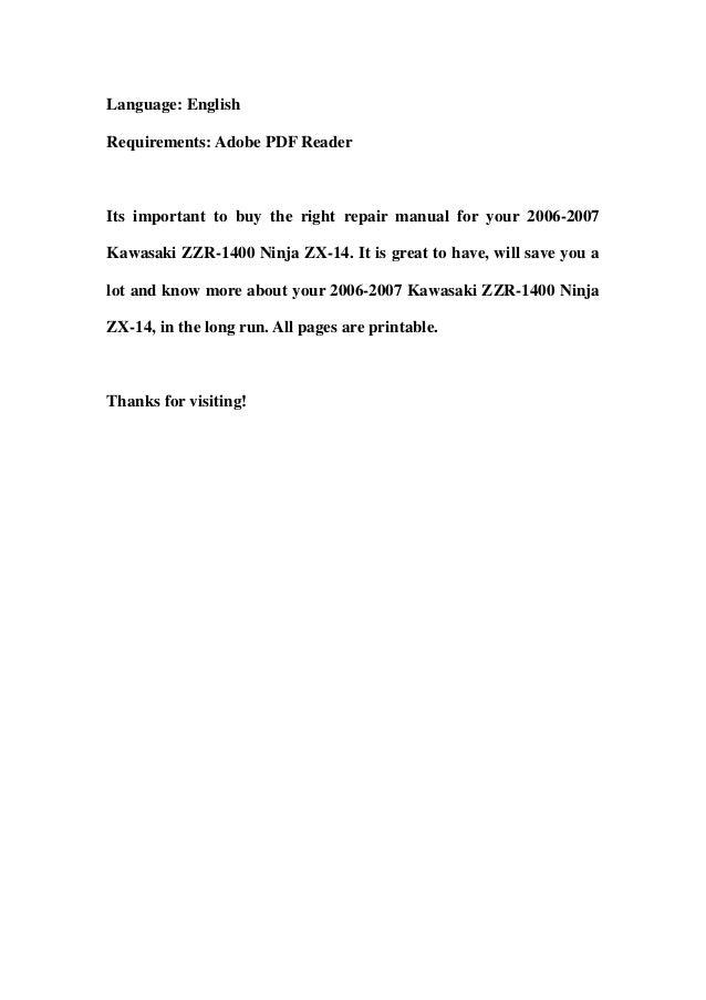 2006 2007 kawasaki zzr 1400 ninja zx 14 service repair. Black Bedroom Furniture Sets. Home Design Ideas