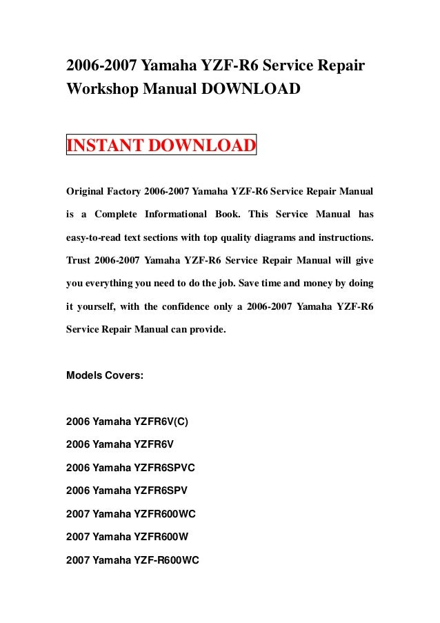 yamaha r6 yzf r6 yzfr6y service repair manual pdf