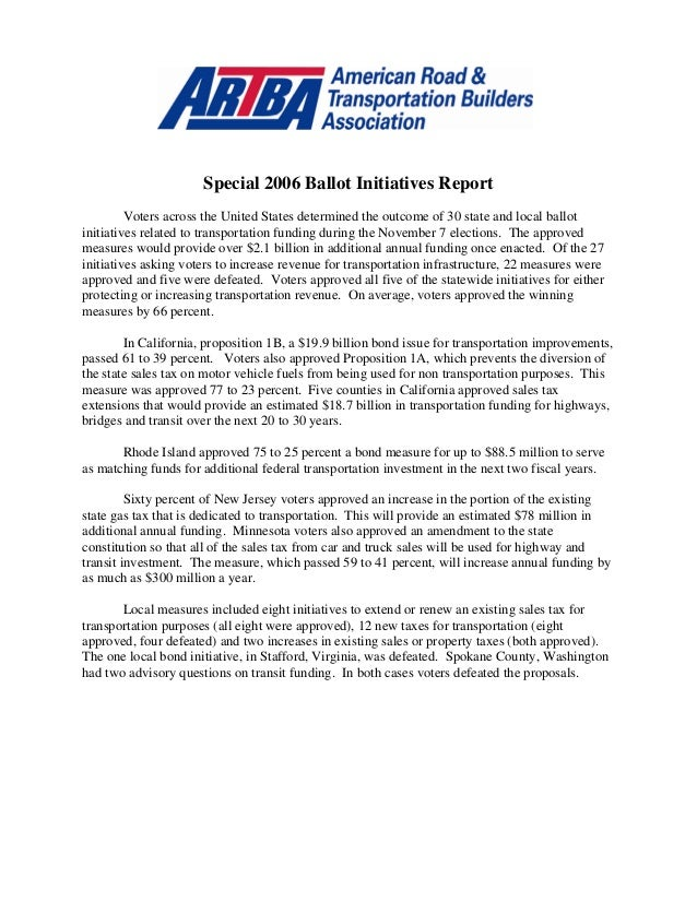 Special 2006 Ballot Initiatives Report Voters across the United States determined the outcome of 30 state and local ballot...