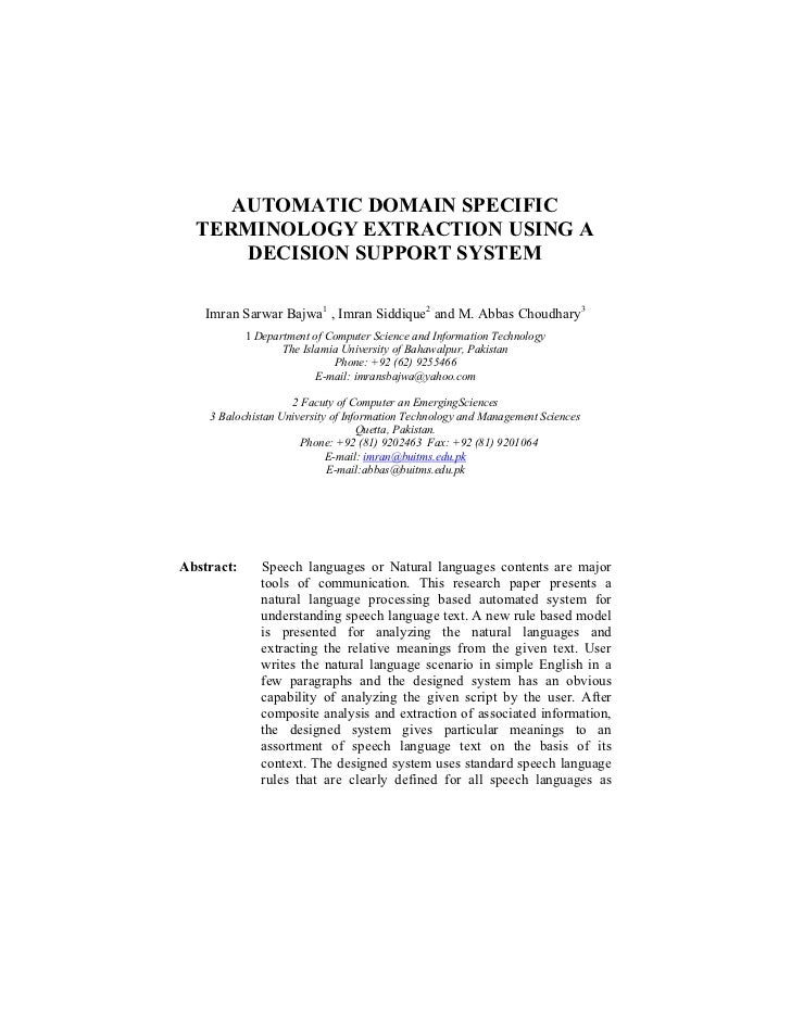 AUTOMATIC DOMAIN SPECIFIC  TERMINOLOGY EXTRACTION USING A      DECISION SUPPORT SYSTEM    Imran Sarwar Bajwa1 , Imran Sidd...