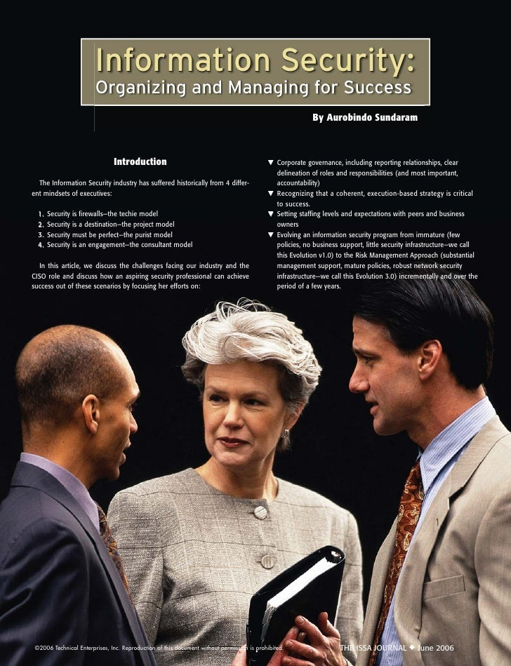 Information Security:                         Organizing and Managing for Success                                         ...