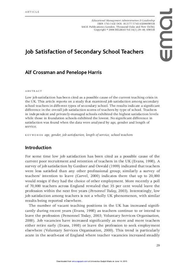 essay on job satisfaction